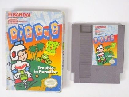 Dig Dug II: Trouble in Paradise game for Nintendo NES -Game & Case