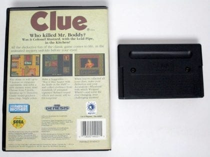Clue game for Sega Genesis | The Game Guy