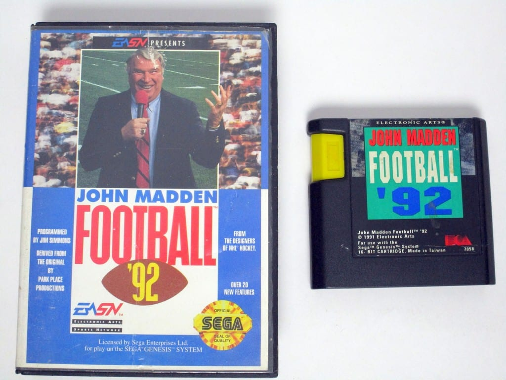 John Madden Football '92 game for Sega Genesis -Game & Case