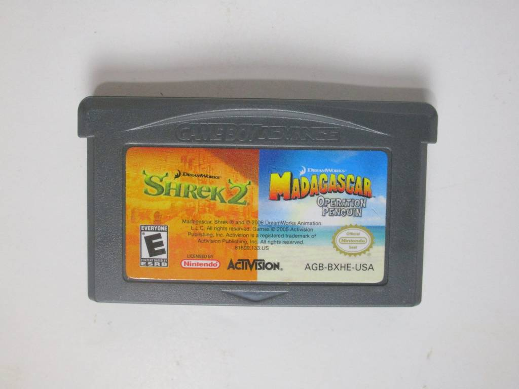 Madagascar Operation Penguin and Shrek 2 game for Nintendo Game Boy Advance -Loose